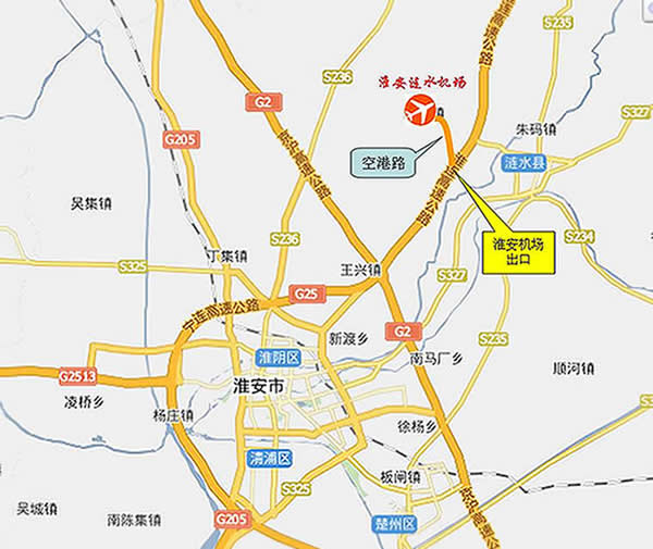 Map of Huai'an Airport